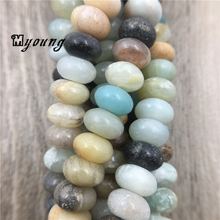 цена MY0003 Multicolor Amazonite Beads,Smooth Rondelle Beads,Natural Stone Beads For Jewelry Making, 15.5'' Free Shipping онлайн в 2017 году