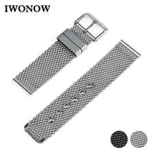 Bracelet de montre en acier inoxydable 20mm 22mm 24mm pour citoyen boucle ardillon sangle lien poignet ceinture Bracelet noir argent + barre de ressort + outil
