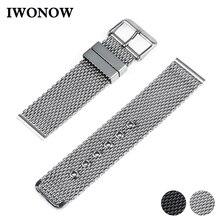 Roestvrij Stalen Horloge Band 20mm 22mm 24mm voor Citizen Pin Gesp Riem Link Pols Riem Armband Zwart zilver + Lente Bar + Tool