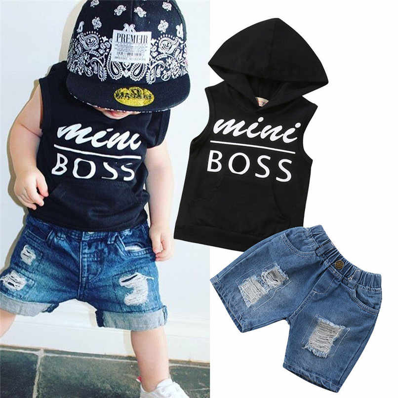 Summer Toddler Kid Baby Boy Tops Hoodie T-Shirt+Shorts Pants Outfits Clothes Set