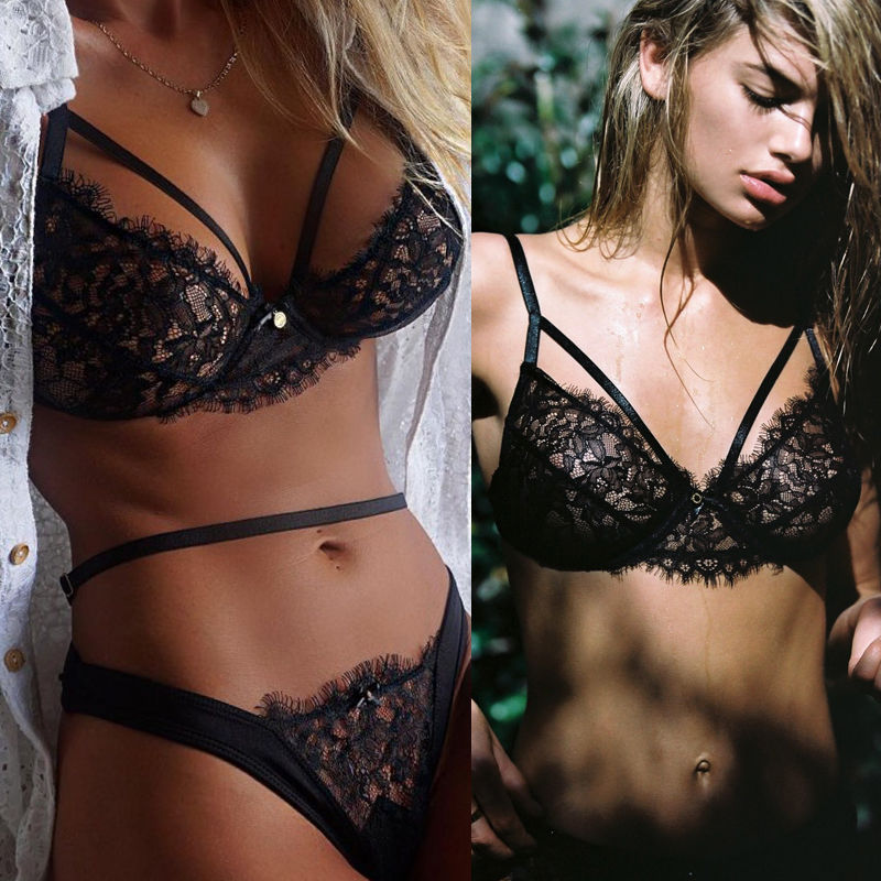 Lingerie For Woman 2019 Sexy Lace Transparent Bra And Panty Seamless Underwear Women Black Briefs Sets Lingeries Bra Set in Babydolls Chemises from Novelty Special Use