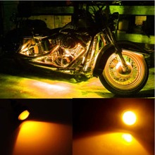 1 Pair Small Amber /Blue/Green/Red/White LED Black DOME Motorcycle Chopper Bobber Turn Signal Lights цена 2017