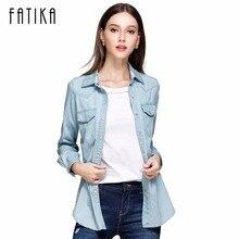 Fatika 2017 Весенняя мода хлопок джинсовые Для женщин Блузки для малышек рубашка с длинными рукавами Для женщин Топы корректирующие Джинсы для женщин блузка женская повседневная одежда