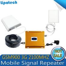 Ensemble complet LCD Affichage! double bande 3G signal Booster KIT W-CDMA 2100 GSM 900 Mobile Signal de Téléphone Cellulaire Répéteur Amplificateur Signal bar