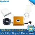 Pantalla LCD Full set! KIT Amplificador de señal de doble banda 3G W-CDMA 2100 GSM 900 Mobile Repetidor de Señal de Teléfono Celular Amplificador de Señal bar