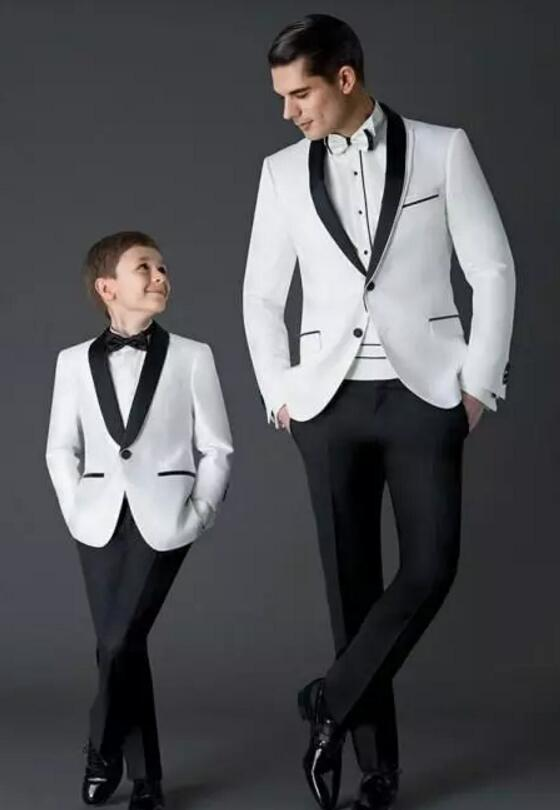 Hot Sale  New Arrival Groom Tuxedos Men's Wedding Dress Prom Suits Father And Boy Tuxedos (Jacket+pants+Bow) Custom Made