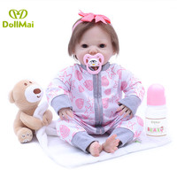 43CM Reborn Baby Doll Handmade Realistic Silicone Vinyl reborn Bebe alive Doll With bear Doll Magnetic Pacifier bebes reborn