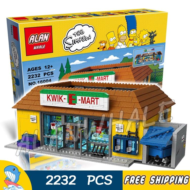2232pcs Simpsons Family the Kwik-E-Mart Holiday Hobby 16004 DIY Model Building Blocks Children Toys Bricks Compatible with Lego neue lepin 16004 2232 stucke die simpsons action modell baustein ziegel kompatibel 71016 fur kinder geschenk