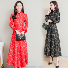 New Winter Chinese long qipao dress fur collar modern red black vintage cheongsam elegant traditional clothing