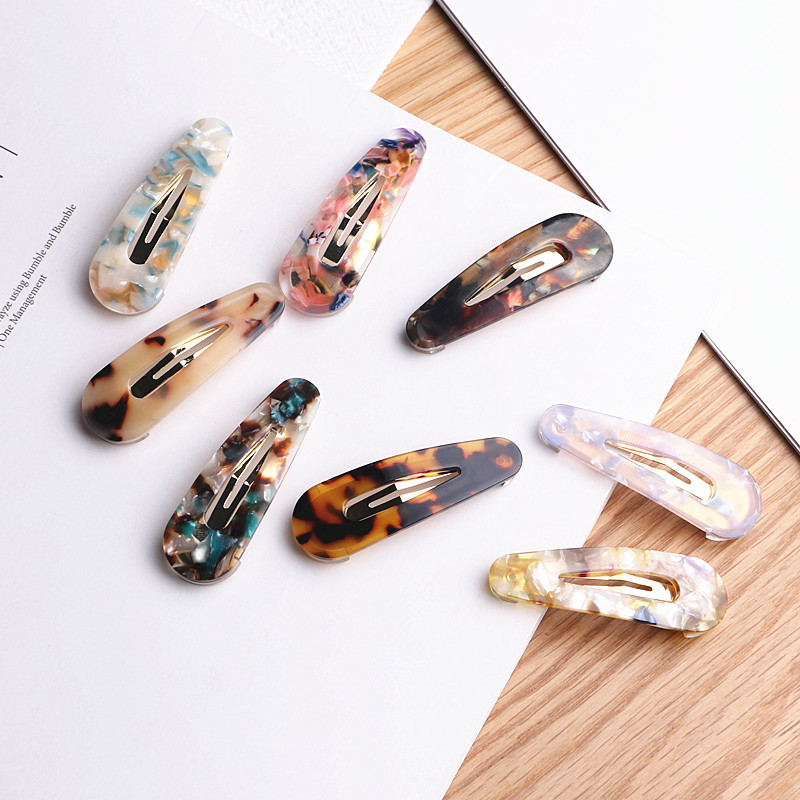 1 pc Women Acetic Acid Hair Clips Hairpins Leopard Print Waterdrop Barrettes Girls Hairgrips Hair Accessories drop shipping