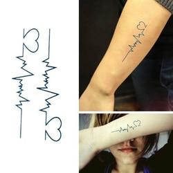 1Pc Electrocardiogram Shape Waterproof Temporary Tattoo Skin Decoration Tatoo Stickers 10*6cm