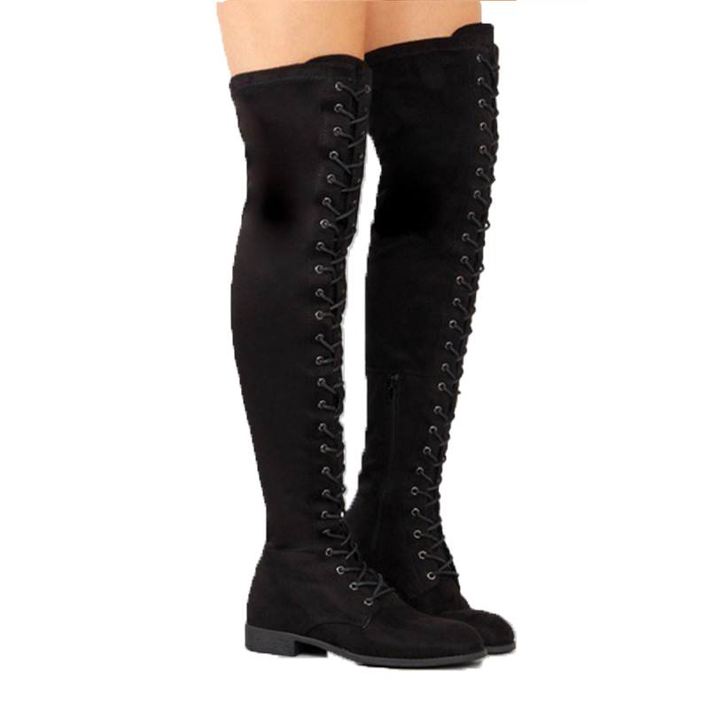 Plus Size 43 Women Boots Lace Up Over the knee Boots Warm Women Shoes Winter Rome Style Knee high Boots Female Winter Boots in Over the Knee Boots from Shoes