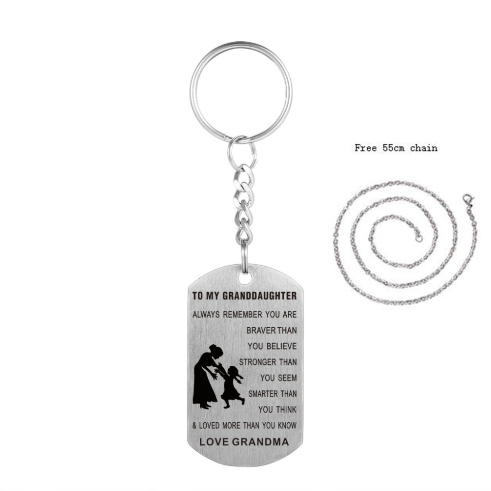 Stainless Steel Grandma To Granddaughter Keychain Dog Tag Key Ring Hand Stamped Inspirational Bag Keyring For Granddaughter