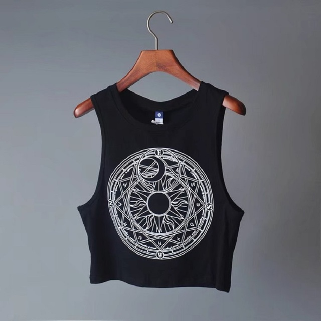 New Womens Tanks Loose Gothic Symbols Moon Sun Printing Crop Top Cropped Top Sleeveless Camis Tank Top 2