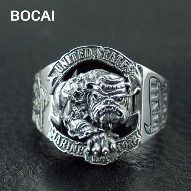 925 Sterling Argent Bulldog logo le United States Marine Corps anneaux