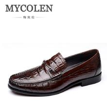 MYCOLEN Men Dress Shoes Italian Leather Slip On Fashion Moccasin Formal Male Comfortable Casual Footwear