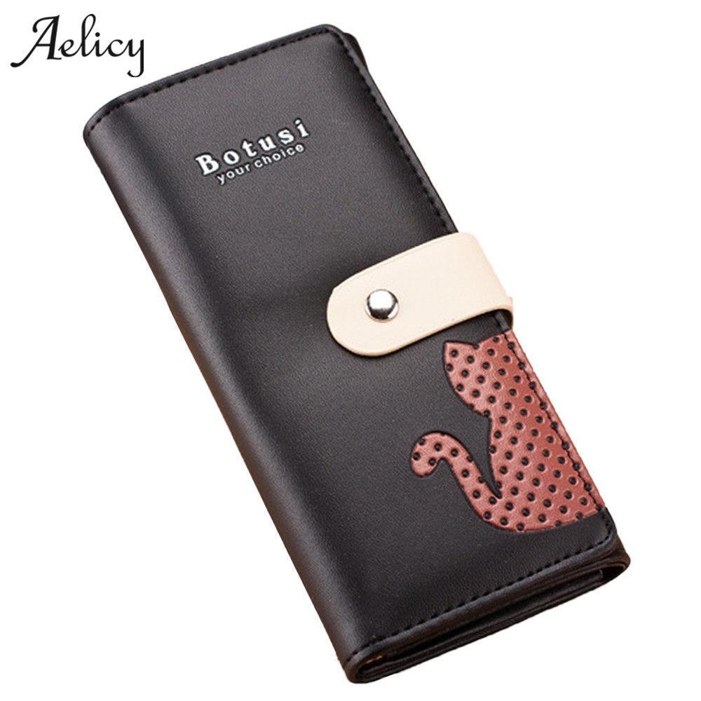 Aelicy Cute Kitten Purse Clutch Button Wallet Bag Handbag With Card Holder Portefeuille Femme Carteira Feminina Carteira 0825
