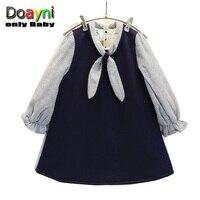 Doayni Baby Girls Thick Warm Brif Patchwork Dress O Neck Bow Strip Stitching Cute Velvet Long