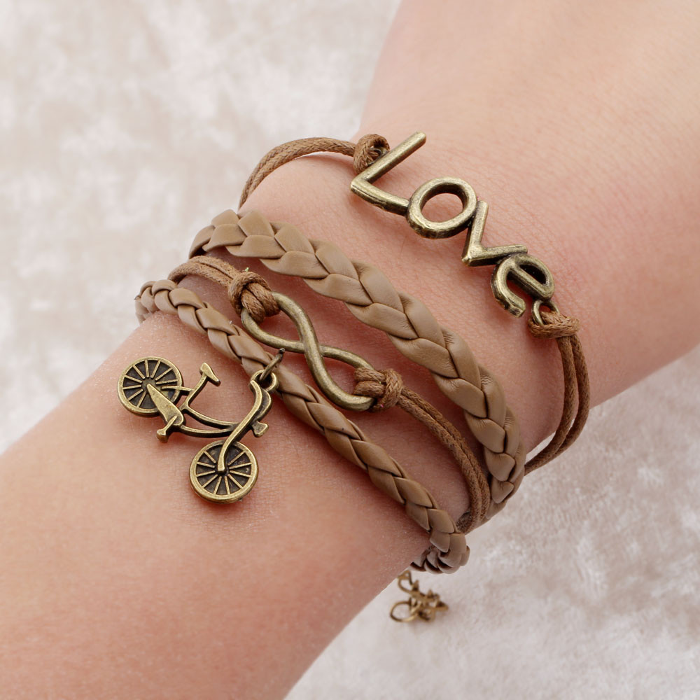 Leather Bracelet With Charms: Vintage Braided Bicycle Charms Bracelets Anchor Rudder