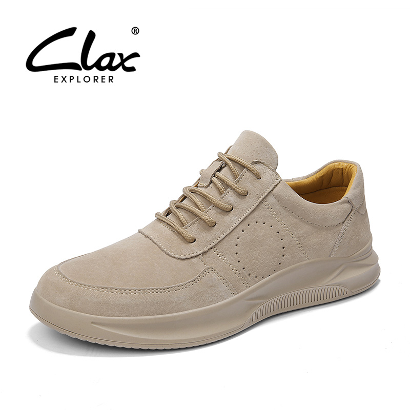 CLAX Mens Sneakers Leather 2019 Spring Summer Fashion Casual Shoes Male Suede Leather Walking Footwear Man