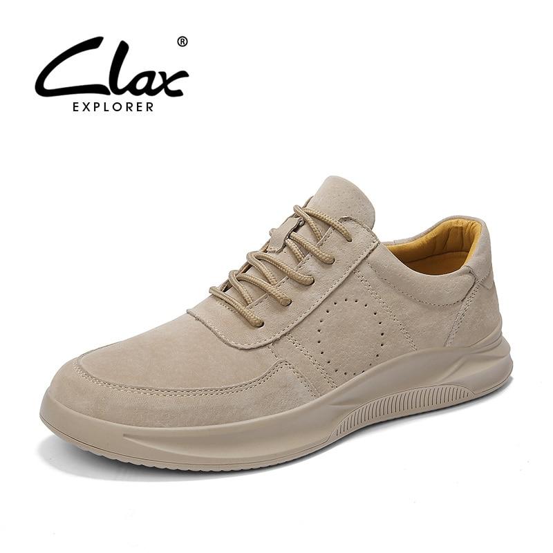 Clax Mens Sneakers Leather-based 2019 Spring Summer time Vogue Informal Footwear Male Suede Leather-based Strolling Footwear Man's Shoe Tender