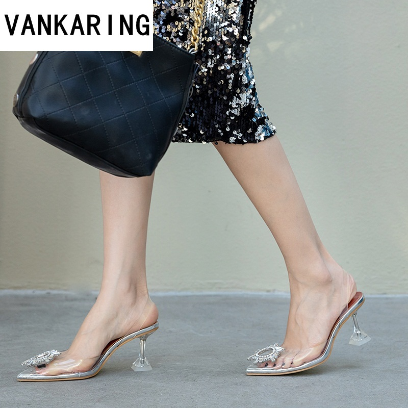 brand summer party shoes woman sexy sandals transparent pvc fashion pumps pointed toe clear wedding shoes