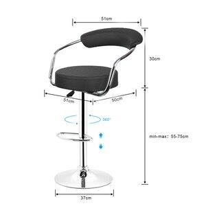 Image 4 - JEOBEST 2 pcs/pair מתכוונן מעלית גז כיסאות בר מודרני עור מפוצל חלול משענת כיסא חדש הגעה HWC