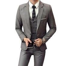 Blazers Pants Vest 3 Pieces Sets / Fashion mens casual boutique business Wedding Groomsmen suit jacket coat trousers waistcoat