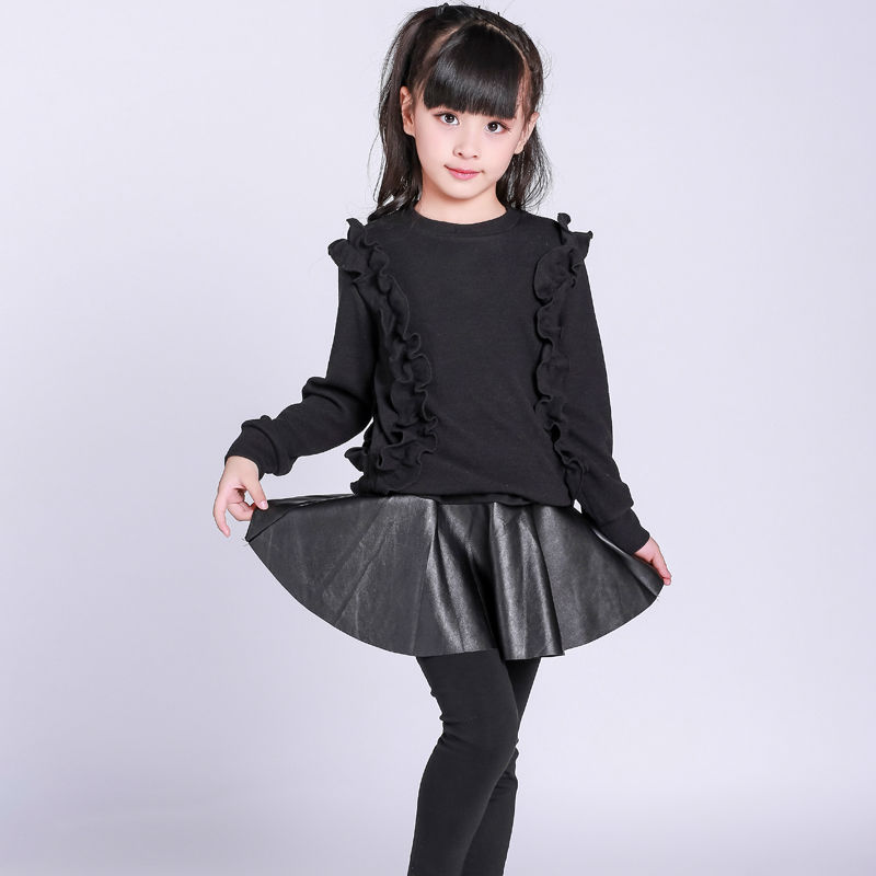 Girls clothing set 2017 autumn casual new fashion brand children's clothing for 2 3 4 5 6 7 8 9 10 years old kids black clothes