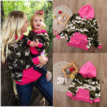 Mother Daughter Camouflage Sweatshirt Hoodie Family Matching Outfits Warm Women