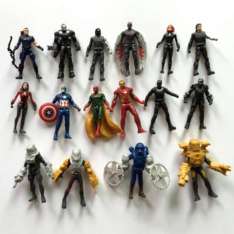16 pcs Action Figure toys The Avengers Capitão America3 Lendas Da Guerra Civil Visão PVC Action Figure Collectible Modelo Toy
