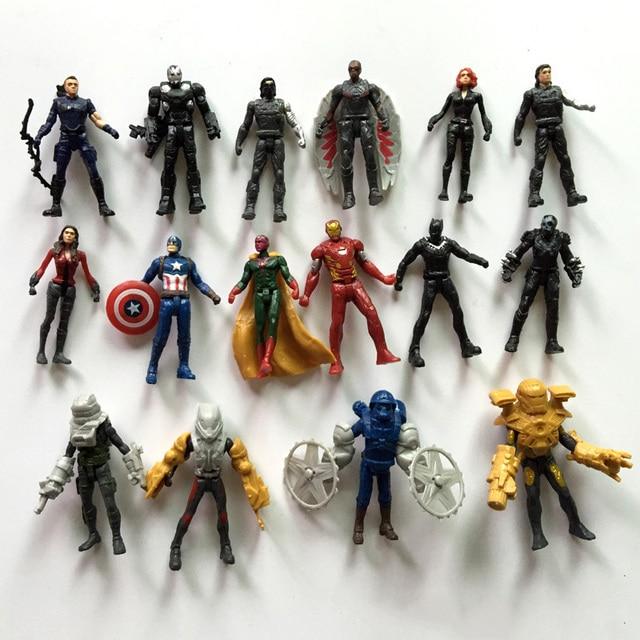 16pcs Captain America3 Action Figure toys The Avengers Legends Civil War Vision PVC Action Figure Collectible Model Toy