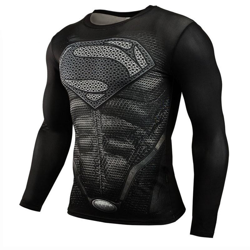 2018 Superman Punisher Rashgard Operating Shirt Males T-Shirt Lengthy Sleeve Compression Shirts Health club T Shirt Health Sport Shirt Males