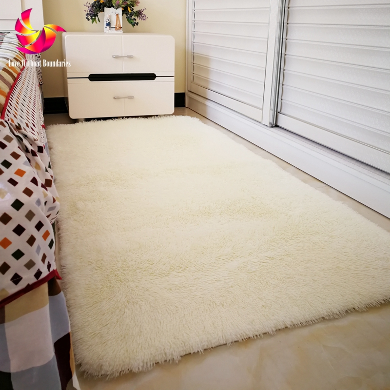 Solid Color Long Hair Carpet Shaggy Soft Area Rug Bedroom Living Room Anti Slip Kids Mat Plush Rug hallway carpet big size Mat