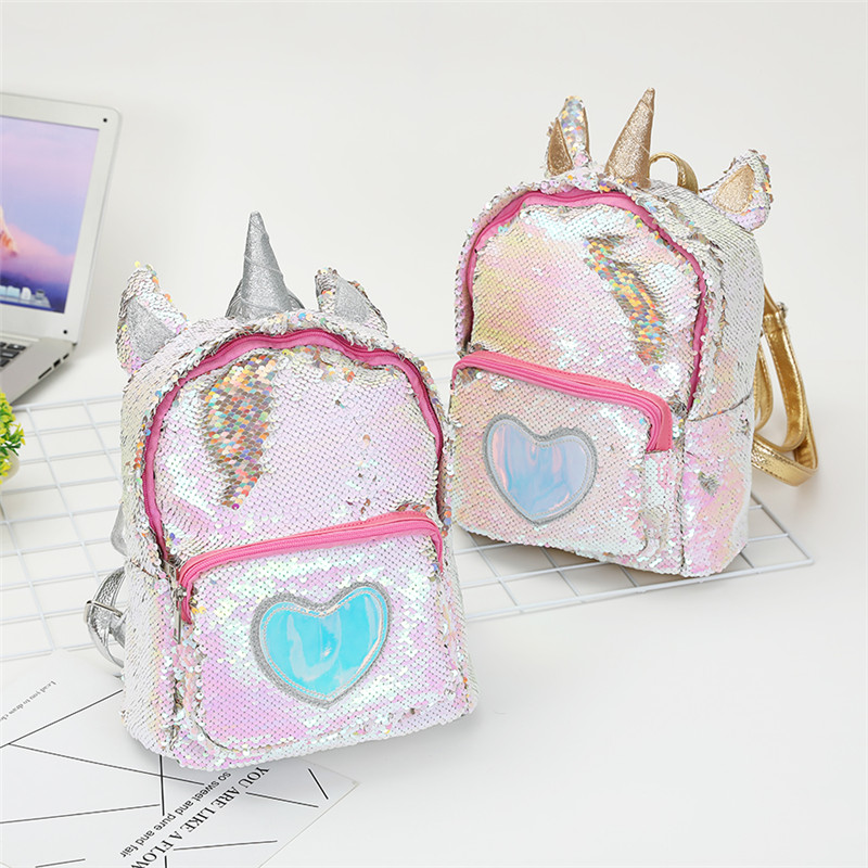 New Sequins Unicorn Backpack Women Pu Leather Mini Travel Soft Bag Fashion Schoolbag For Teenager Student Girls Book Bag Satchel #4
