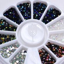 1 коробка 2 мм AB Хамелеон кристалл ногтей Стразы плоское дно круглой 3d декор колеса 5 цветов Маникюр Дизайн ногтей Аксессуары