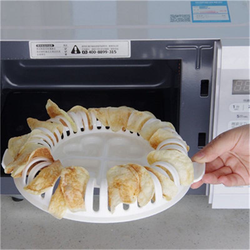 Portable Cooking Tools Healthy DIY Microwave Oven Baked Potato Chips Maker Oven Grill Basket  Kitchen Gadgets C4