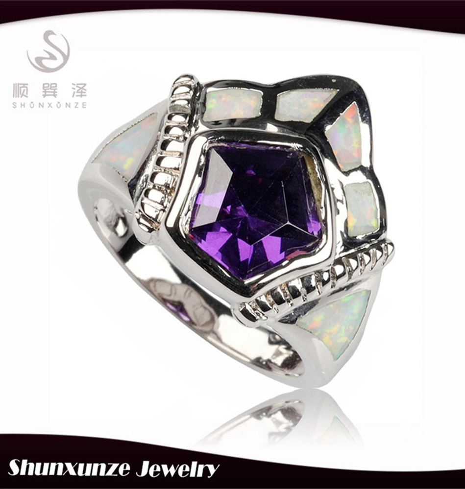 SHUNXUNZE Rings Purple Cubic Zirconia and white opal Silver Plated Best Sellers R363 size 6 7 8 9 The new product Favourite
