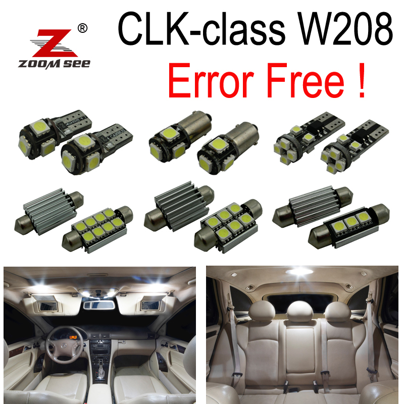14pcs Error free LED lamp interior dome Light Kit For Mercedes Benz CLK W208 CLK320 CLK430 Coupe Convertible (98-02) 16pcs white premium led interior map light kit license plate light for mercedes clk coupe 2003 2008