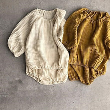 2020 Autumn set Cotton Linen Long Sleeves + Package Pants 2 Sets Of Leisure Suits Baby Girl Clothes Girls Clothing Sets