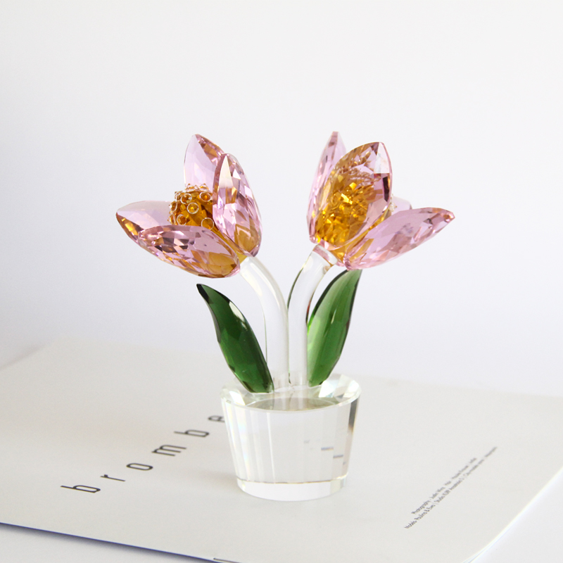 1 pcs Crystal Glass Tulip Flower Figurines Craft Wedding Valentine's Day favors and gifts Souvenir Table Decoration Ornaments