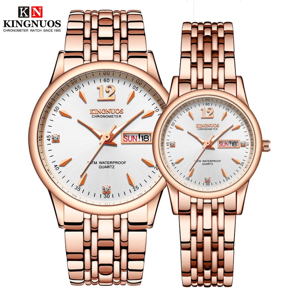 1 Pair Hours Quartz WristWatches For Men And Women 2019 Fashion Luxury Auto Date Business Couple Watches For Lover Beloved Clock