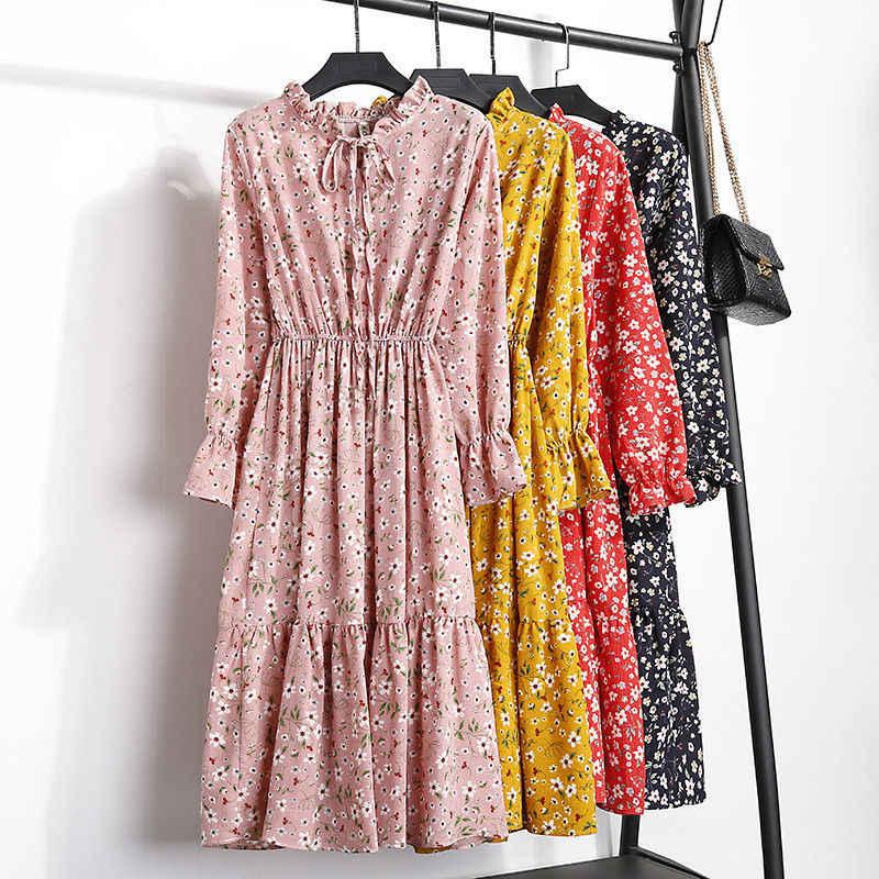 Летнее женское платье Kawaii с цветочным принтом, корейское повседневное вечернее платье с длинным рукавом до середины икры, винтажное платье, милая одежда