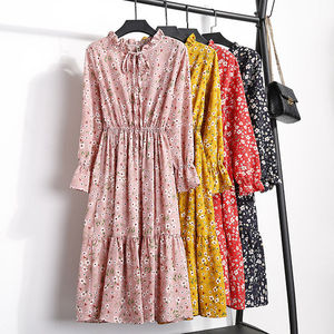 Image 4 - Zomer Print Bloemen Vrouwen Kawaii Jurk Koreaanse Casual Lange Mouwen Halverwege De Kuit Party Dress Vintage Vestidos Leuke Kleding