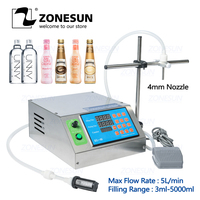 ZONESUN Gear Pump Bottle Water Filler Semi automatic Liquid Vial Desk top Filling Machine for Juice Beverage Oil Perfume