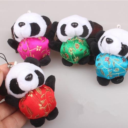 Dressing Cute Panda Keychains Chinese style Women Girls Phone Charms Accessory Mini Plush Toy Car Key Chains Ethnic Gift 3pcs/lo