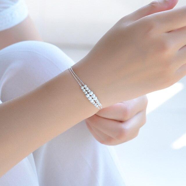 Оптовые серебряные браслеты с цепочкой модные бусины 925 пробы
