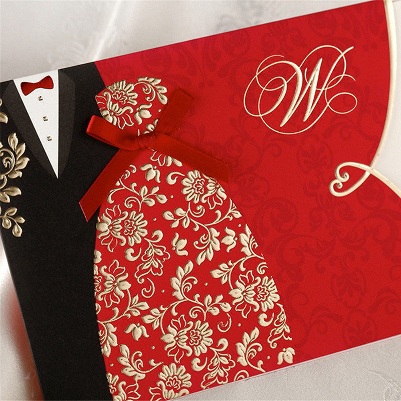 ФОТО 50pcs Red Wedding Invitation Card Greeting Card Postcard Customize Printing With Ribbon Laser Cut Wedding Event Party Supplies