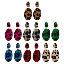 Women Leopard Print Dangle Drop Earrings Flannel Winter Fashion Jewelry