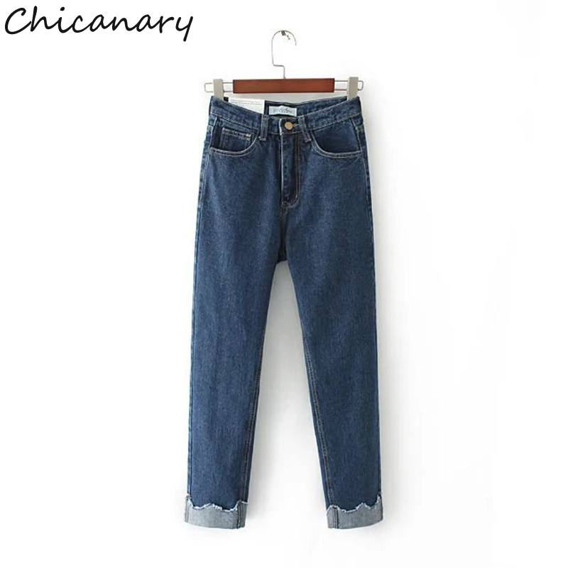 Chicanary Crimping Women Jeans Denim Harem Nine Point Pants Trousers